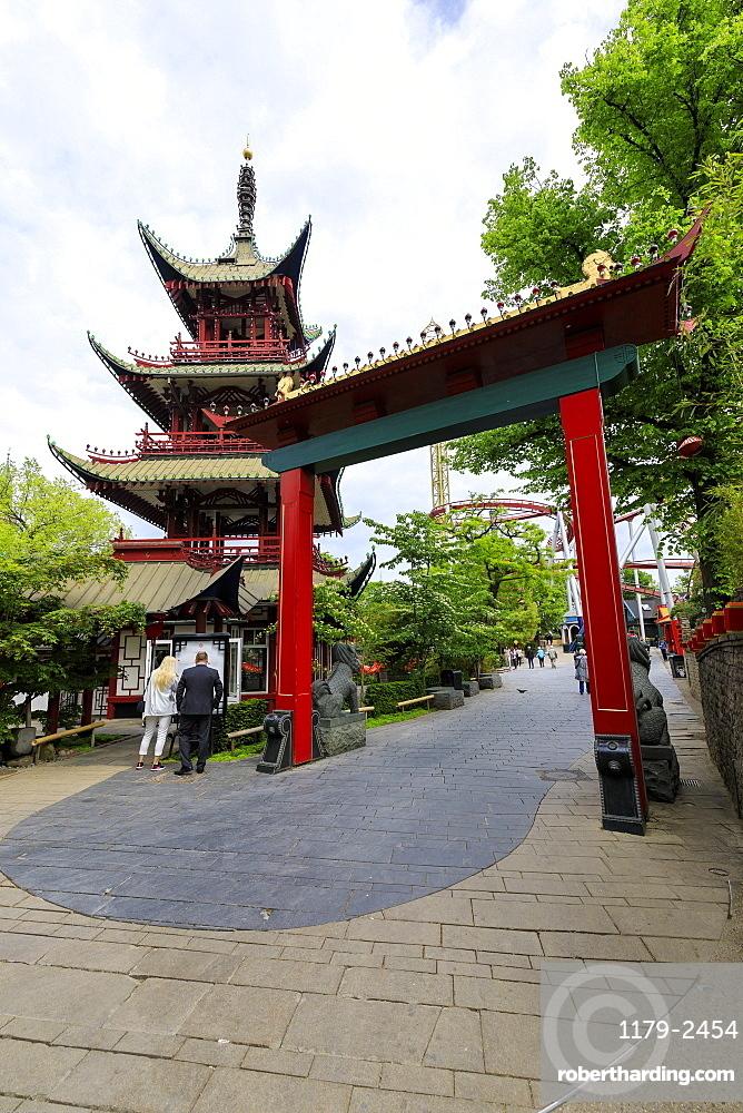 Pagoda in the famous amusement park of Tivoli Gardens, Copenhagen, Denmark, Europe