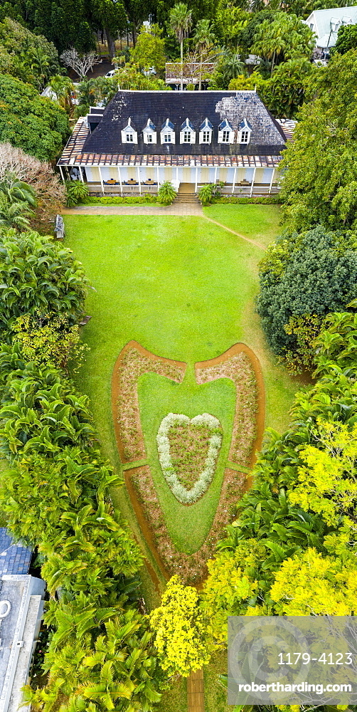 Heart shape in the ornamental gardens of Eureka La Maison Creole, colonial house, aerial view, Moka, Mauritius, Indian Ocean, Africa