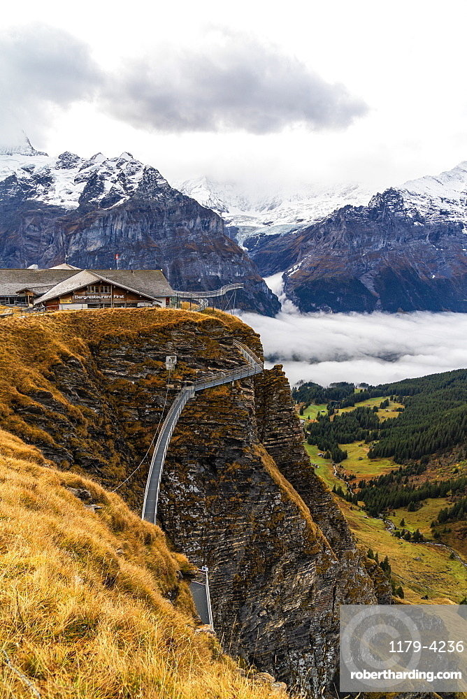 Elevated metal walkway on mountain ridge known as Cliff Walk by Tissot, First, Grindelwald, Canton of Bern, Switzerland