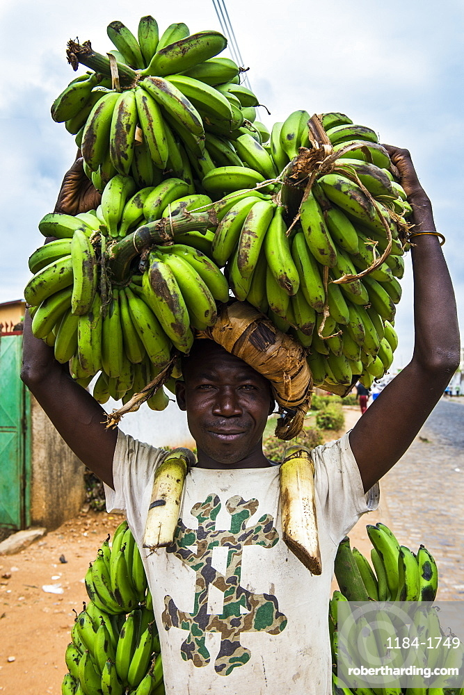 Man carrying lots of bananas on his head, Bujumbura, Burundi, Africa