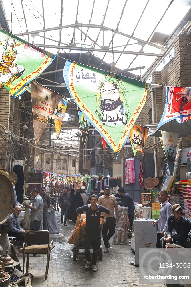 Martyrs flags in the Copper bazaar, Baghdad, Iraq, Middle East