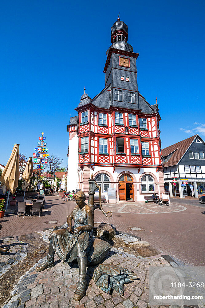 Market square with the old town hall of Lorsch, Hesse, Germany