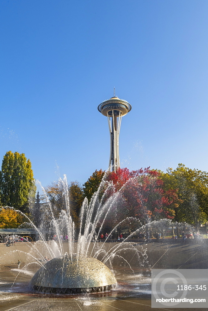 MoPoP fountain and Space Needle, Seattle, Washington State, United States of America, North America