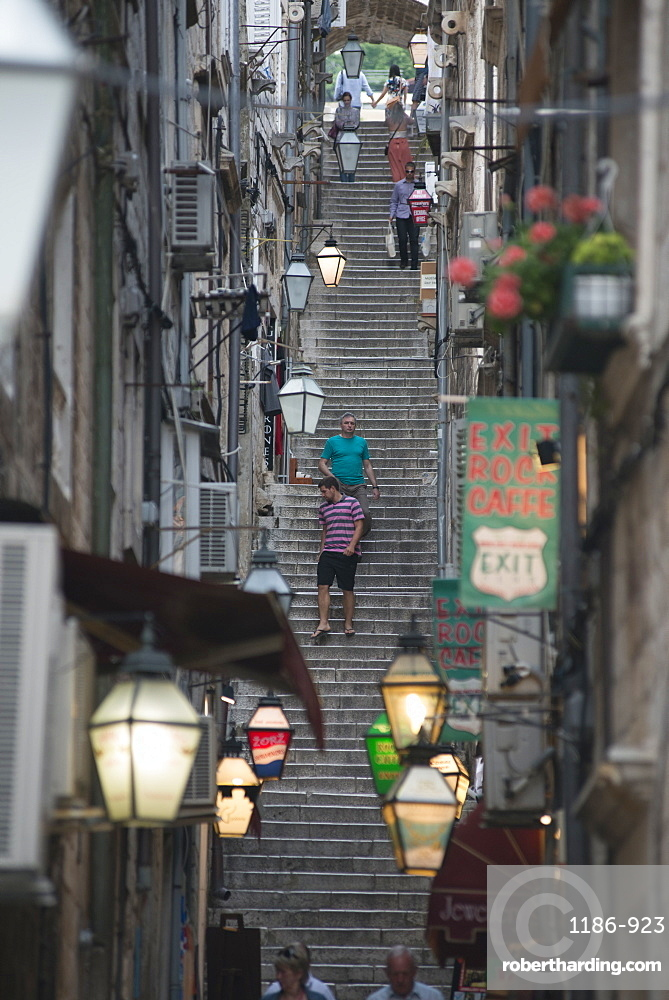 Steps in the old town, UNESCO World Heritage Site, Dubrovnik, Croatia, Europe