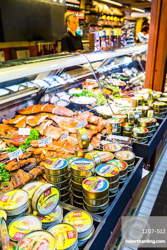 Canned and fresh seafood at Kauppahalli market in Helsinki, Uusimaa, Finland, Scandinavia, Europe