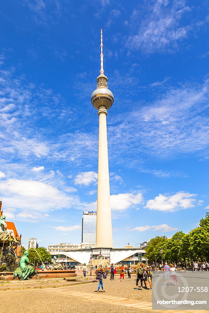 The Berlin Television Tower at Alexanderplatz, Berlin, Germany, Europe