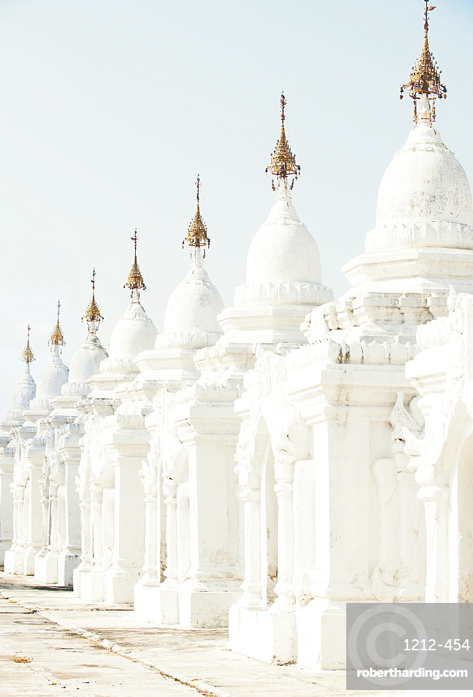 The world's largest book, set in stone, in the grounds of the Kuthodaw pagoda at the foot of Mandalay Hill, Myanmar (Burma), Asia