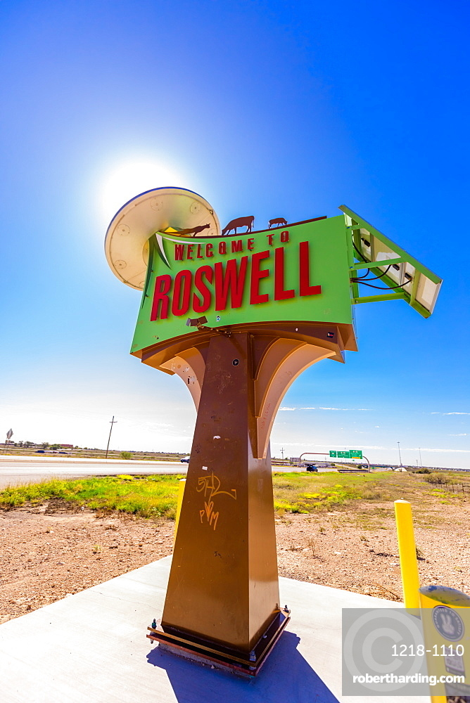 Roswell sign, Roswell, New Mexico, United States of America, North America