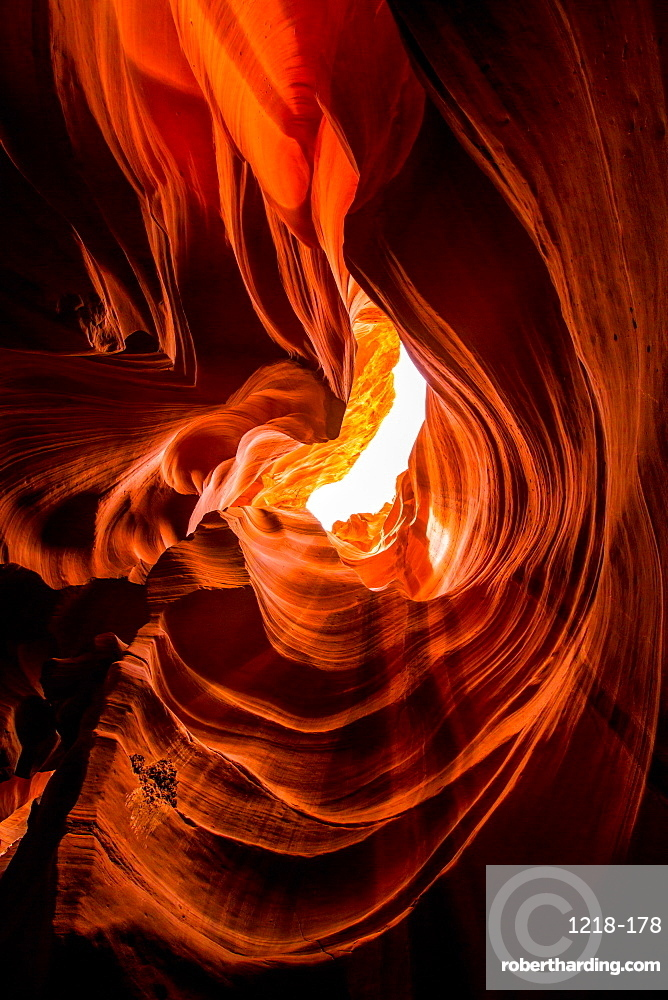 Sandstone sculpted walls, Upper Antelope Canyon, Arizona, United States of America, North America