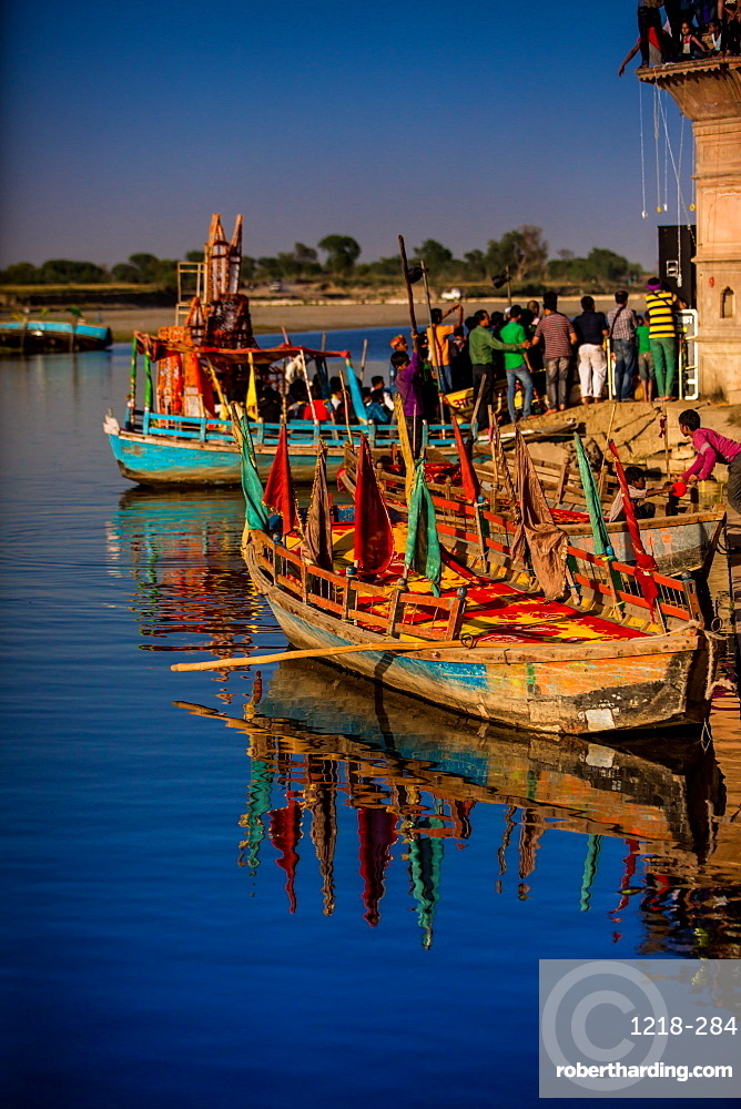Colorful boats at the Holi Festival, Vrindavan, Uttar Pradesh, India, Asia