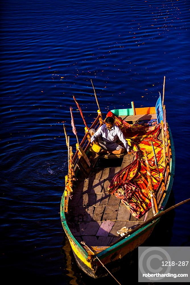 Colorful boat, The Flower Holi Festival, Vrindavan, Uttar Pradesh, India, Asia