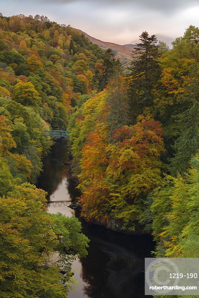 River Garry flowing beneath Garry Bridge along the Pass of Killiecrankie in autumn, Perthshire, Scotland, United Kingdom, Europe