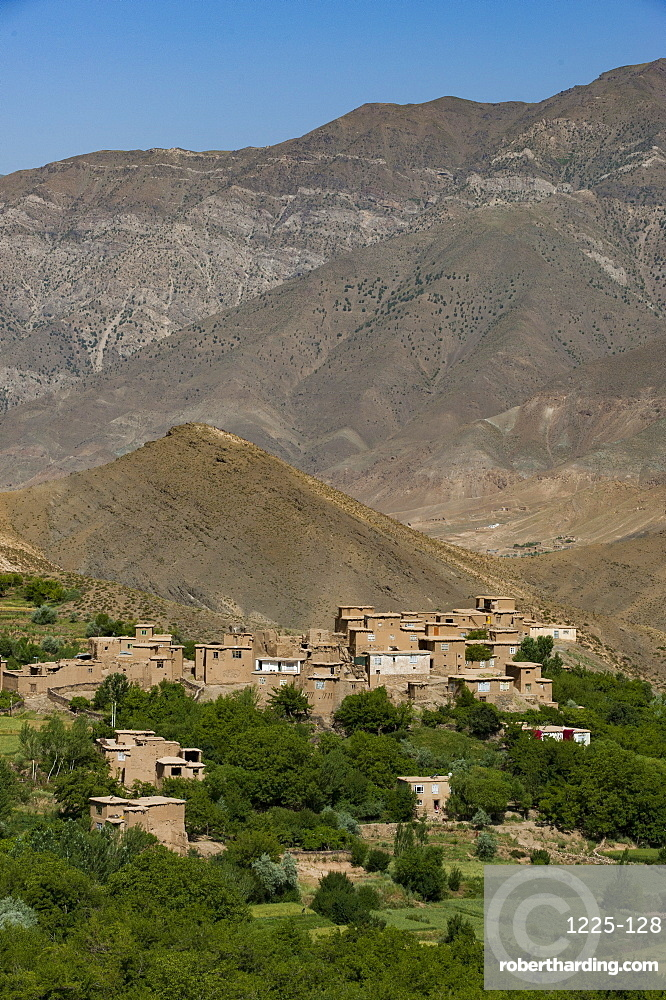 A village and terraced fields of wheat and potatoes in the Panjshir Valley, Afghanistan, Asia
