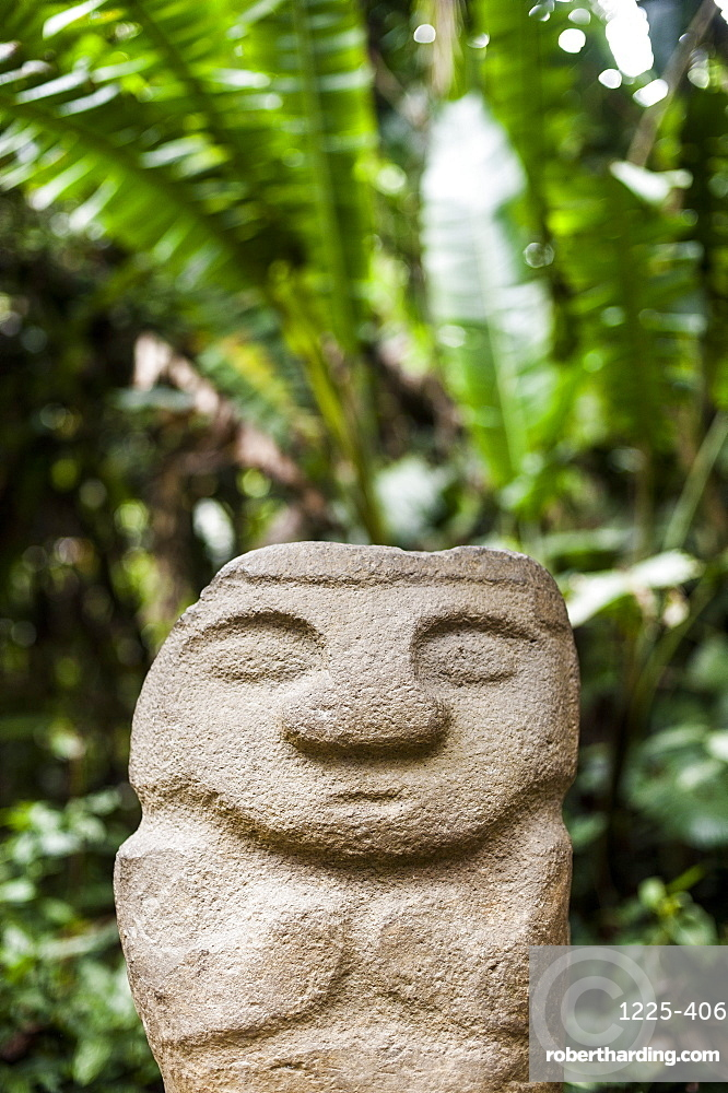 An ancient stone statue, San Agustin Archaeological Park, UNESCO World Heritage Site, Colombia, South America