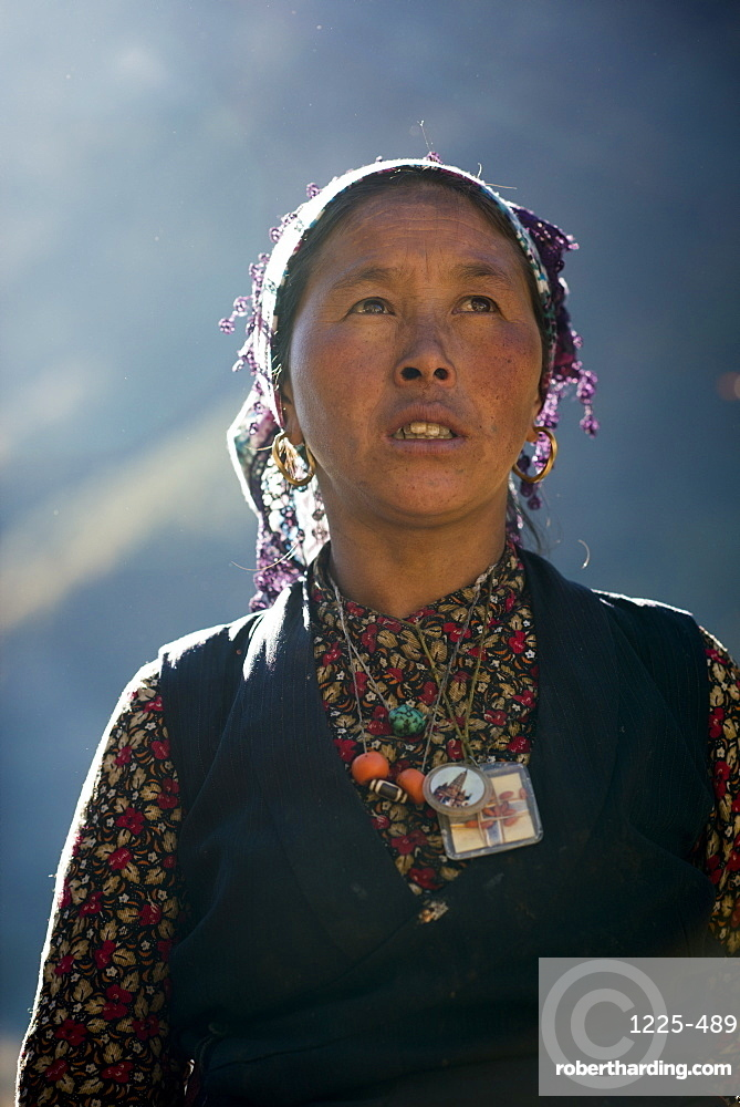 A Tibetan woman in the Langtang Valley in Nepal, Asia