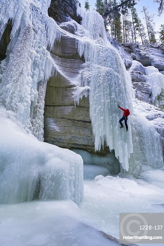 Ice climbing in Maligne Canyon, Alberta, Canada