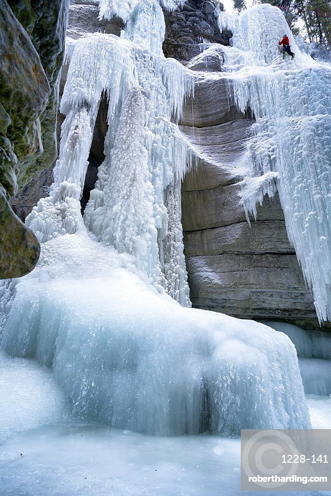 Ice climbing in Maligne Canyon Alberta, Canada, North America