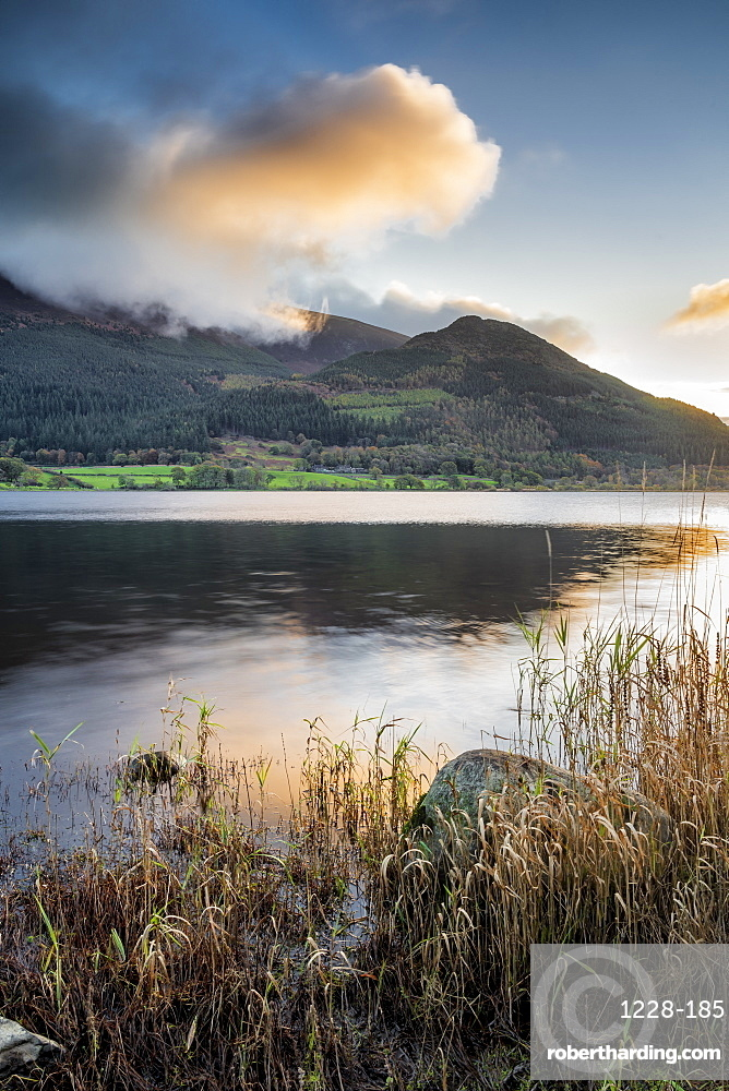 Early morning sunlight over lower slopes of Skiddaw and Bassenthwaite, Lake District National Park, UNESCO World Heritage Site, Cumbria, England, United Kingdom, Europe