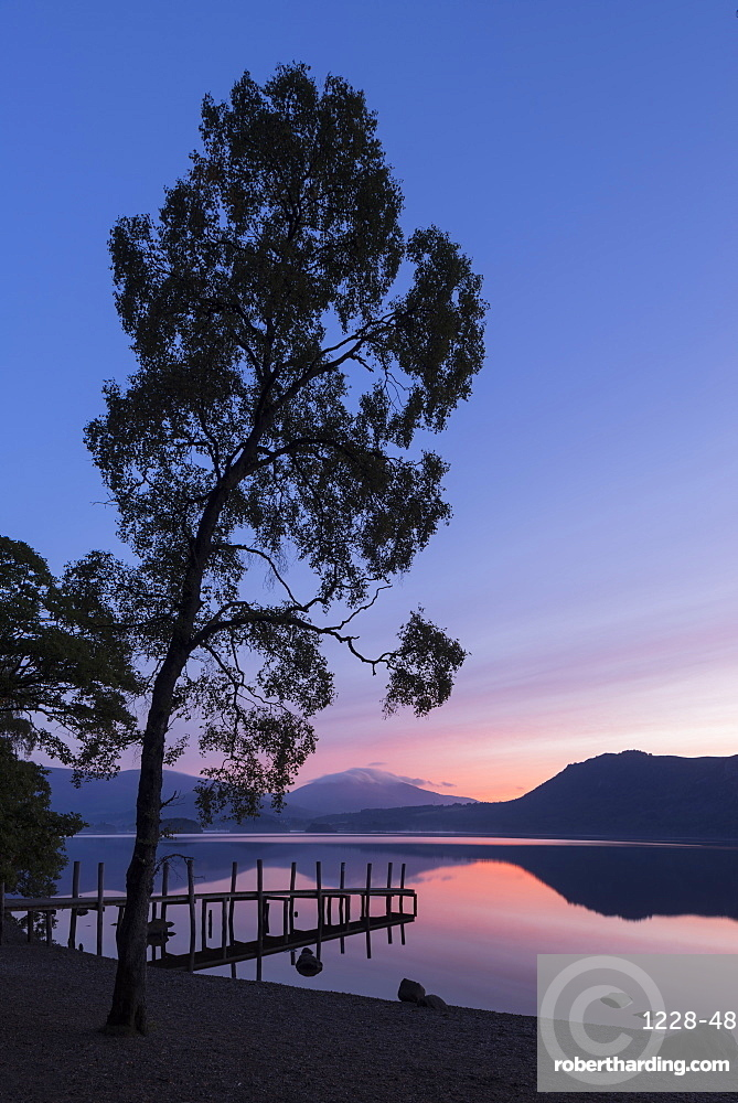 Blencathra and Derwent Water sunrise, Lake District National Park, Cumbria, England, United Kingdom, Europe