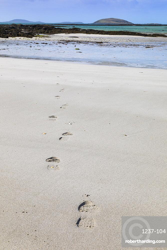 Footsteps on a beach, Isle of Eriskay, Sound of Barra, Outer Hebrides, Scotland, United Kingdom, Europe
