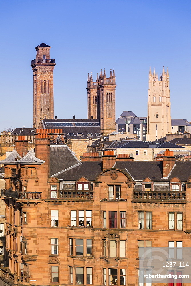 City skyline view of the towers of Trinity College and Park Church in the West End of Glasgow, Scotland, United Kingdom, Europe