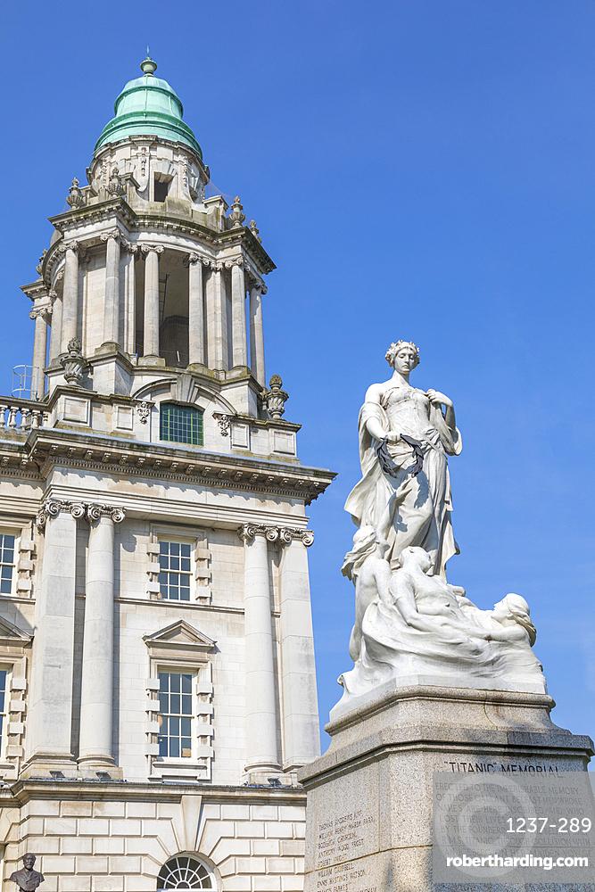 Titanic Memorial and City Hall, Belfast, Ulster, Northern Ireland, United Kingdom, Europe