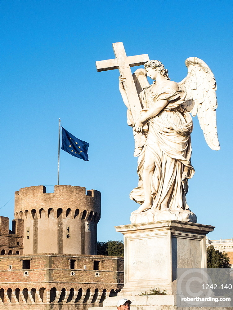 Statue outside the Castel Sant'Angelo, UNESCO World Heritage Site, Rome, Lazio, Italy, Europe