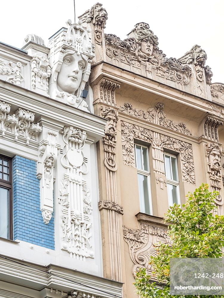 Art Nouveau buildings, architectural detail, UNESCO World Heritage Site, Riga, Latvia, Baltics, Europe