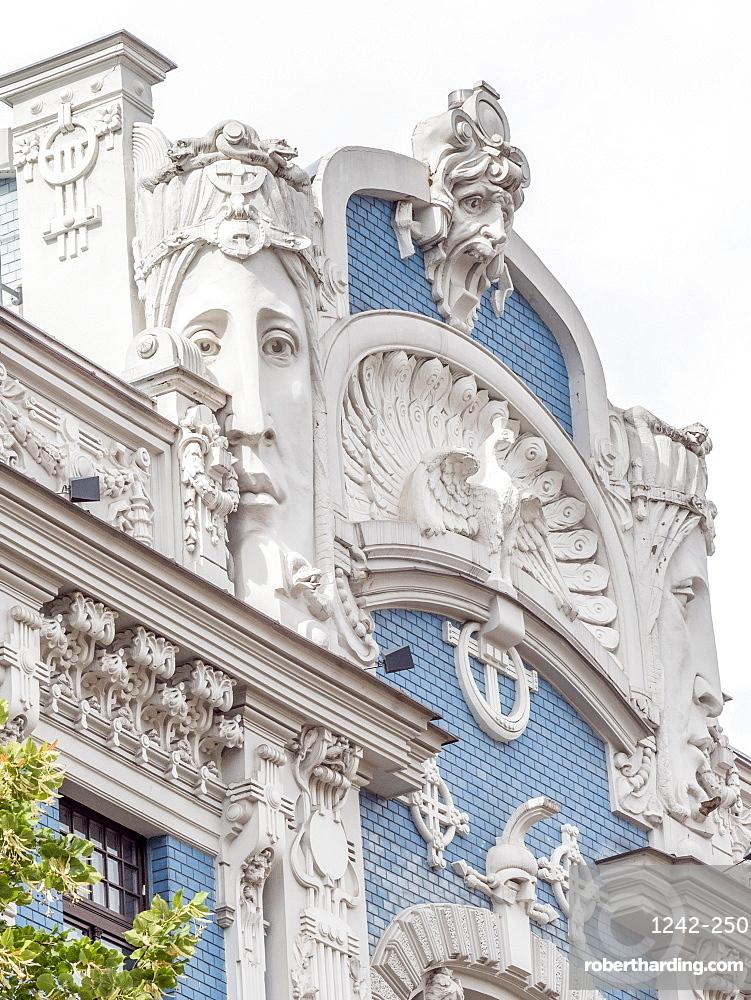 Art Nouveau building, architectural detail, UNESCO World Heritage Site, Riga, Latvia, Baltics, Europe