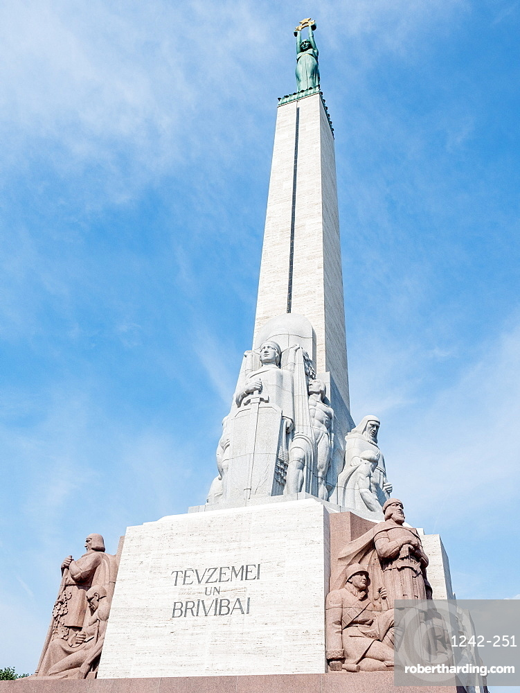 The Freedom Monument honors people killed during the Latvian War of Independence, Riga, Latvia, Baltics, Europe