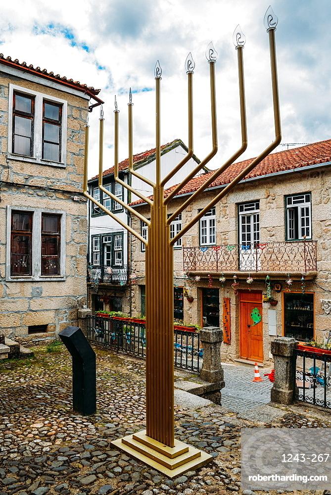 Giant menorah in Belmonte, Castelo Branco, Portugal, Europe