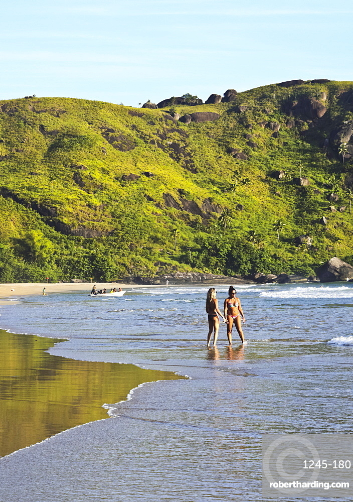 View of the beach in Bonete, Ilhabela Island, State of Sao Paulo, Brazil, South America