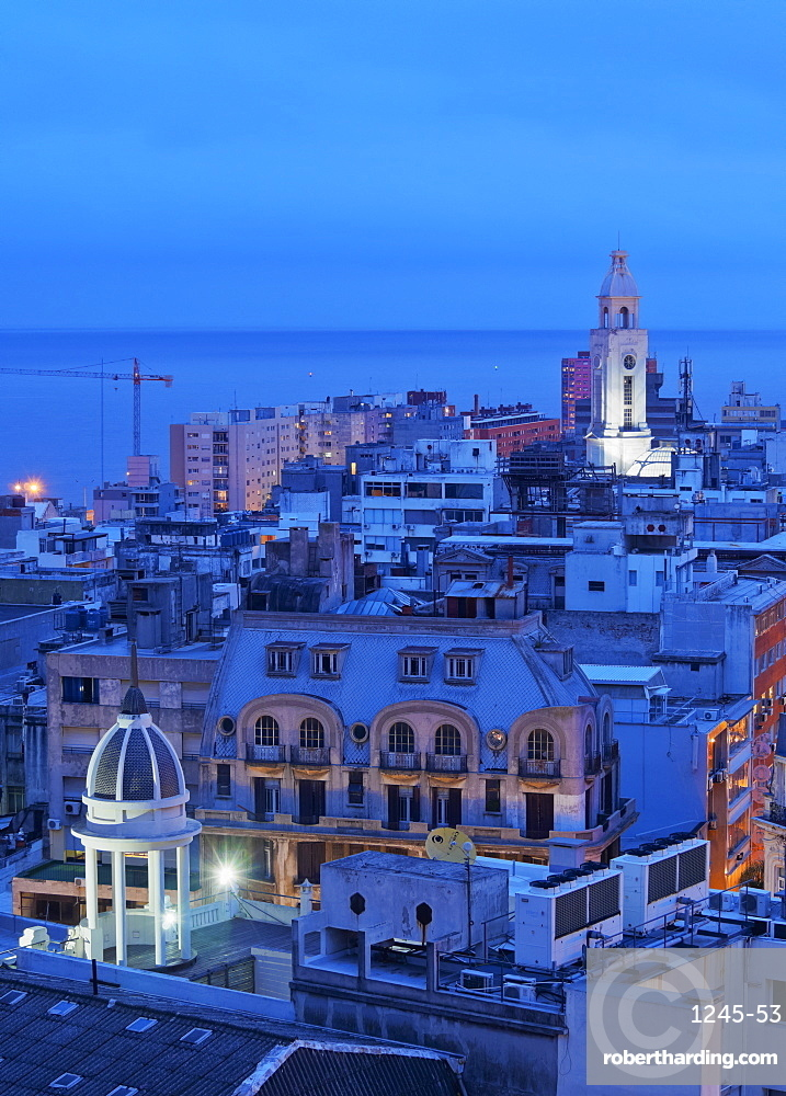 Elevated view of the Old Town, Montevideo, Uruguay, South America