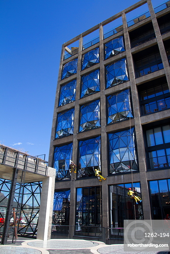 Window cleaning at the Silo Hotel, Cape Town, South Africa, Africa