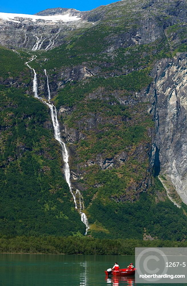 Oldevatnet Lake waterfall, Nordfjord, Norway, Scandinavia, Europe