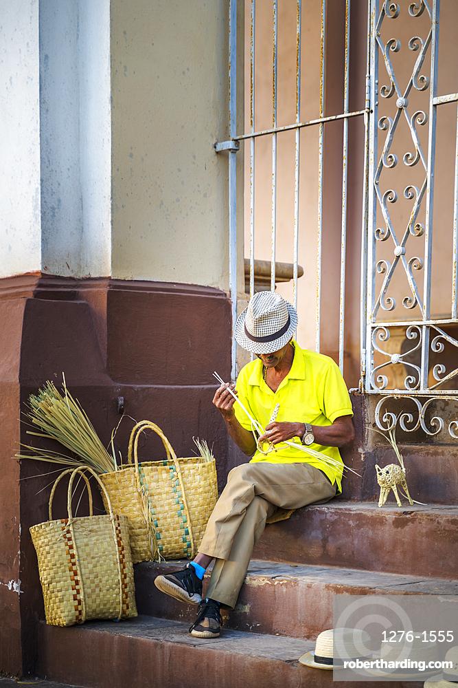 Local creating souvenirs in Trinidad, UNESCO World Heritage Site, Sancti Spiritus, Cuba, West Indies, Central America