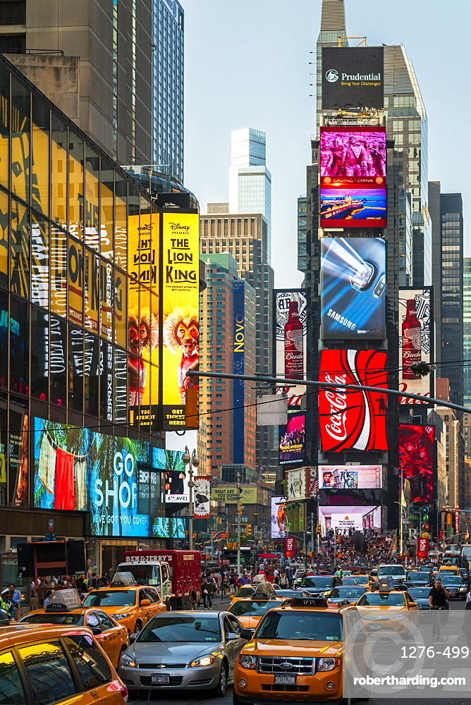 Bright billboards, busy traffic, Times Square, Broadway, Theatre District, Manhattan, New York, United States of America, North America
