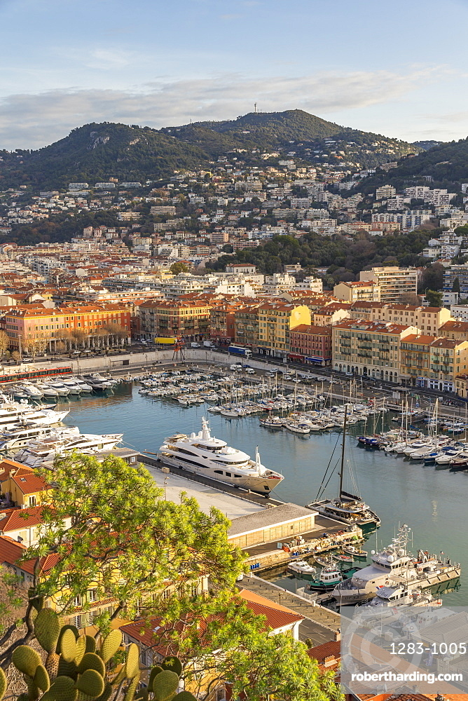 View from a lookout on Castle Hill down to Port Lympia, Nice, Cote d'Azur, French Riviera, Provence, France, Europe