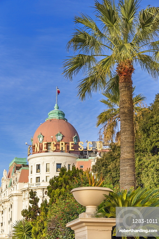 Famous Le Negresco Hotel building at Promenade des Anglais, Nice, Cote d'Azur, French Riviera, France, Europe