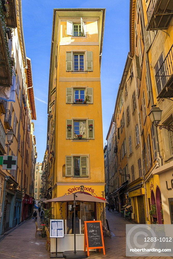 Narrow building in the old town (Vieux-Nice) near Rossetti Square, Nice, Cote d'Azur, French Riviera, France, Europe
