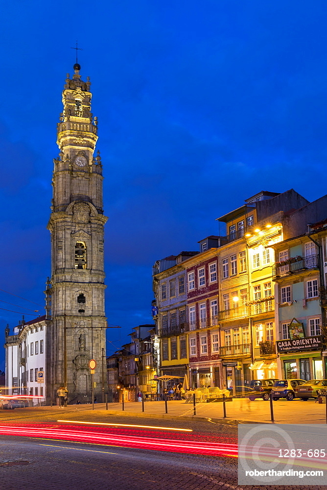 The bell tower of the Clerigos Church at dusk, Porto, Portugal, Europe