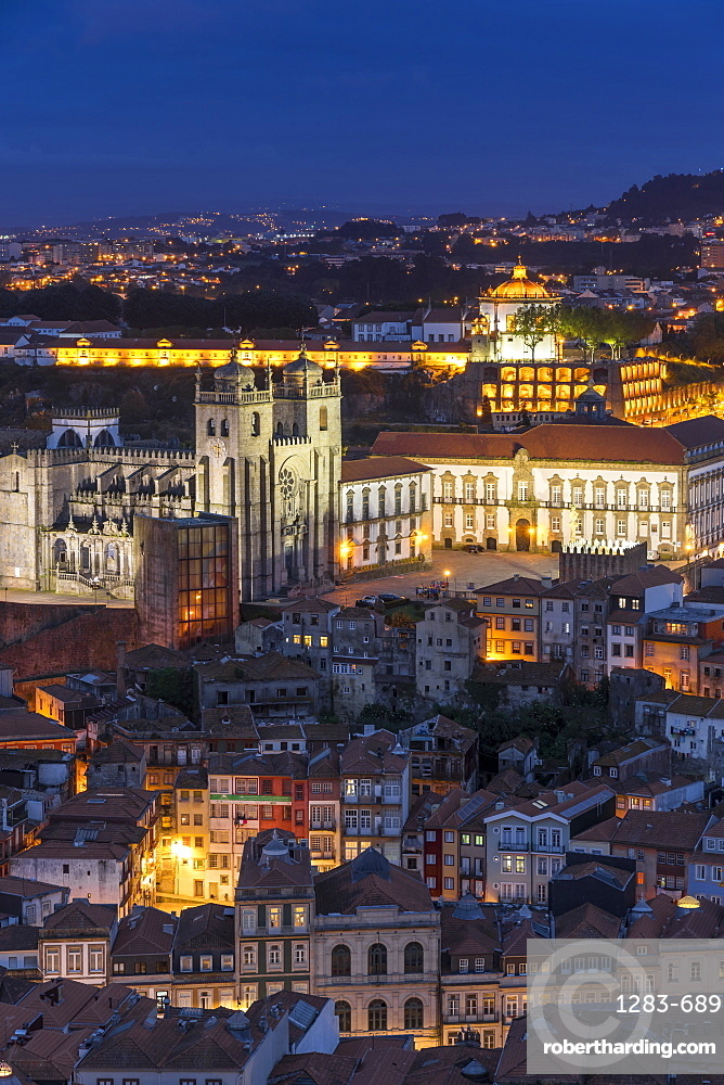 View from the bell tower of the Clerigos Church over the old town, Porto, Portugal, Europe