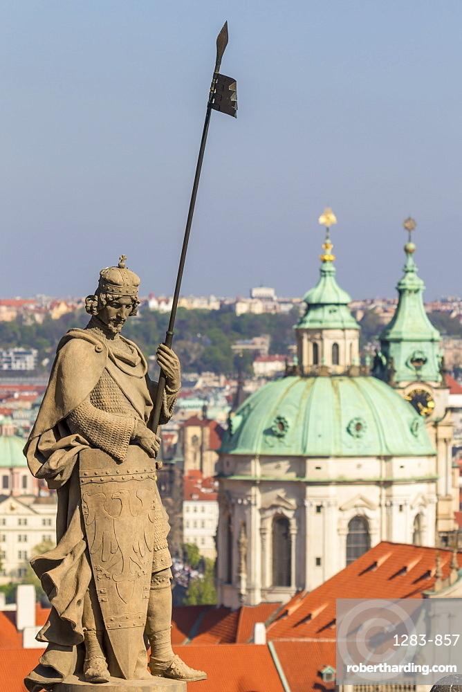 Cupola of the St. Nicolas Church seen from Prague Castle, UNESCO World Heritage Site, Prague, Bohemia, Czech Republic, Europe