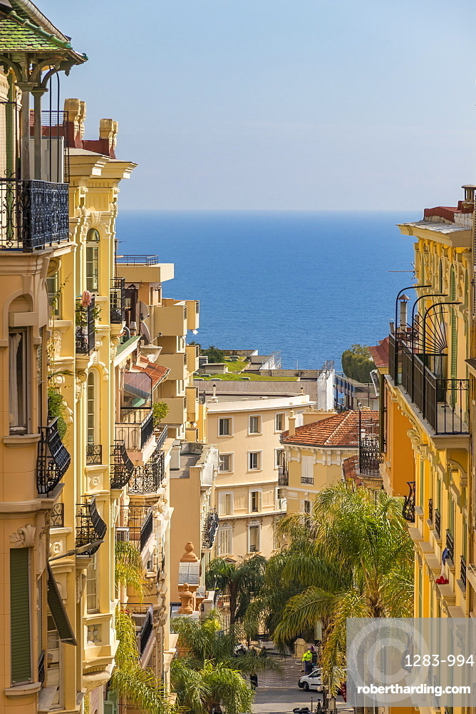 View from Beausoleil down to the historical buildings of the Monte Carlo quarter, Monaco, Cote d'Azur, French Riviera, Europe