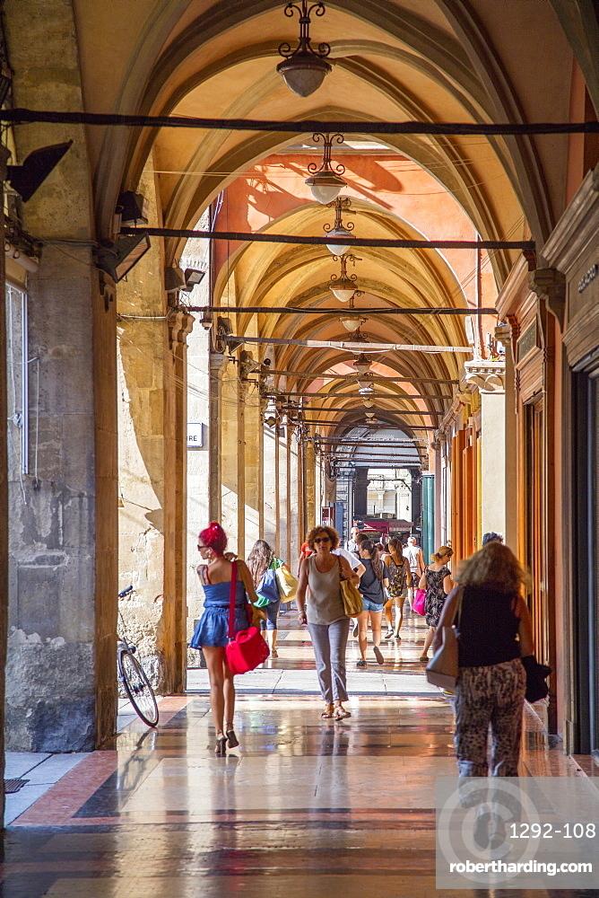 The arcades of Piazza Maggiore, Bologna, Emilia-Romagna, Italy, Europe
