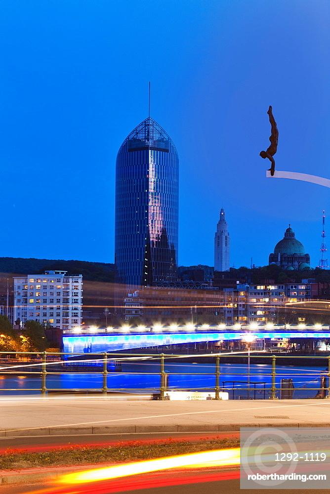 Le Plongeur sculpture by Idel Ianchelevici, Liege, Belgium, Europe