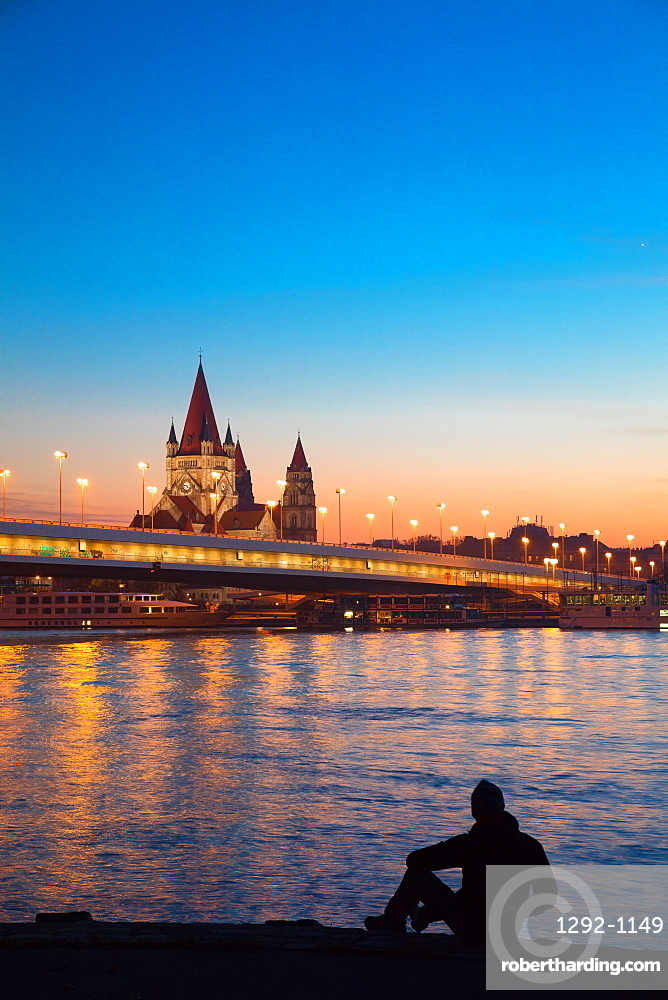 View from the Donauinsel subway station over the River Danube, Vienna, Austria, Europe