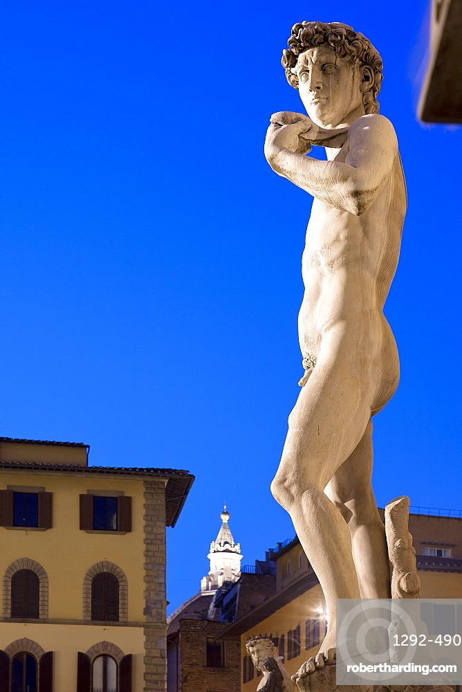 Piazza della Signoria, statue of David by Michelangelo, Florence, UNESCO World Heritage Site, Tuscany, Italy, Europe