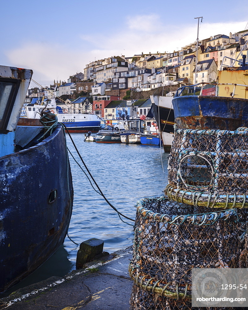 The colourful houses on the hillside above the harbour of Brixham, Devon, England, United Kingdom, Europe