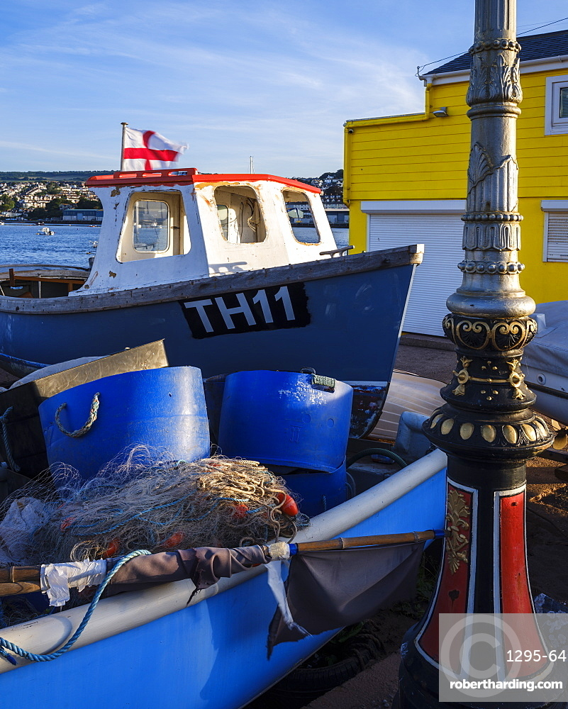 Fishing boat, nets and pots at The Point, Teignmouth, Devon, England, United Kingdom, Europe